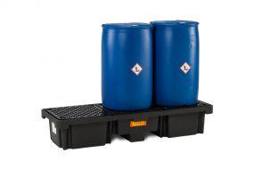 3-Drum kunststof lekbak (215ltr) - met rooster - 186x66x33cm