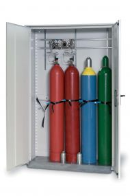 Enkelwandige opstelkast voor gasflessen, dubbele deur max 5 x 50 ltr