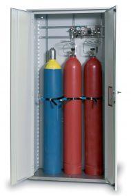 Enkelwandige opstelkast voor gasflessen, dubbele deur max 3 x 50 ltr