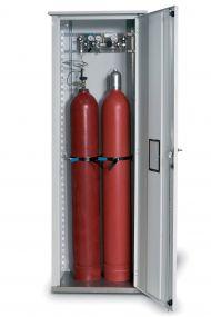 Enkelwandige opstelkast voor gasflessen, enkele deur max 2 x 50 ltr