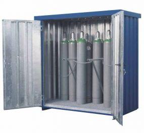 Gasflessencontainer, verzinkte gelakte uitvoering, 21 x 50 ltr gasflessen