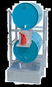 Tap- en opslagstation voor 2 vaten van 200 liter met opvangbak zonder rooster