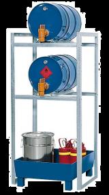 Aftapstation van verzinkt staal voor 2 vaten à 60 liter met lekbak met verzinkt rooster