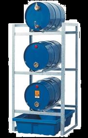Aftapstation van verzinkt staal voor 3 vaten à 60 liter met PE lekbak zonder rooster