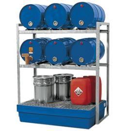 Aftapstation van verzinkt staal voor 6 vaten à 60 liter met PE lekbak en verzinkt rooster