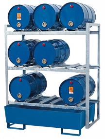 Aftapstation van verzinkt staal voor 9 vaten à 60 liter met gelakte stalen lekbak zonder rooster