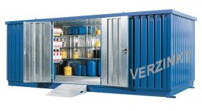 Milieucontainer WHG 5-L staal verzinkt, afmetingen 500 x 223 x 235 cm(11 m²), deur lange zijde