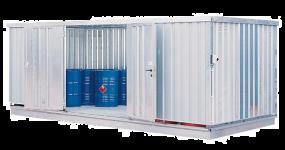 Milieucontainer WHG 6-L staal verzinkt, afmetingen 600 x 280 x 235 cm(17 m²), deur lange zijde