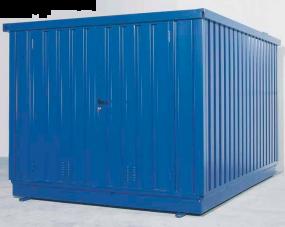 Milieucontainer WHG 4-KC staal verzinkt + gelakt, afmetingen 280 x 400 x 235 cm(11 m²), deur korte zijde