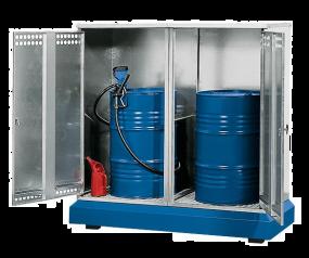 Vatenopslag depot verzinkt, met natuurlijke ventilatie voor 1 of 2 vaten à 200 liter
