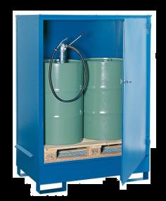 Vaten opslagdepots van staal met deur voor 2 vaten à 200 liter