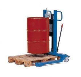 Vatenlifter voor stalen 200 ltr vaten, met handbediende vatenklem, hefbereik 520 mm