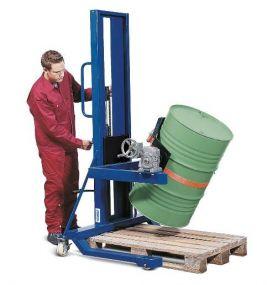 Vatenlifter & vatenkantelaar voor stalen en kunststof vaten, met hydraulische handpomp, hefbereik 140 cm