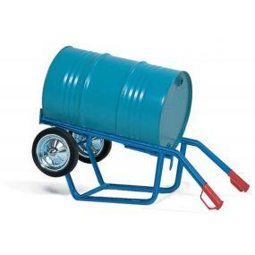Vatenwagen met voetplaat en spanband geschikt voor 60 tot 200ltr vat op massieve banden