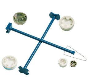 Kruis-vatensleutel van gelakt staal geschikt voor vrijwel alle soorten afsluitdoppen van vaten
