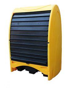 Kunststof opslagdepot met roldeur - 2 x 200 ltr vat