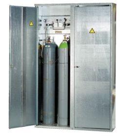 Enkelwandige verzinkte opstelkast voor gasflessen, dubbele deur 5 x 50 ltr