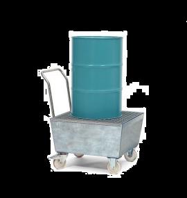 Verrijdbare verzinkte lekbak met rooster voor 1 x 60 ltr + klein emballage of 1 x 200 ltr vat