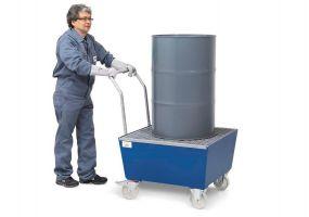 Verrijdbare gelakte lekbak met rooster voor 1 x 60 ltr + klein emballage of 1 x 200 ltr vat