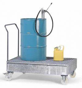 Verrijdbare gelakte stalen lekbak met rooster voor 2 staande of 1 liggend vat à 200 ltr