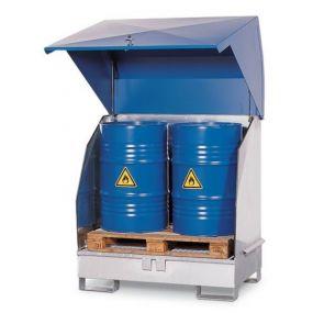 Opslagdepot van verzinkt staal met stalen kap voor 2 vaten à 200 liter