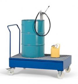 Verrijdbare lekbak van gelakt staal met rooster voor 2 staande of 1 liggend vat à 200 ltr