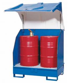 Opslagdepot van gelakt staal met kunststof kap voor 2 vaten à 200 liter