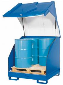 Opslagdepot van gelakt staal met kunststof kap voor 4 vaten à 200 liter