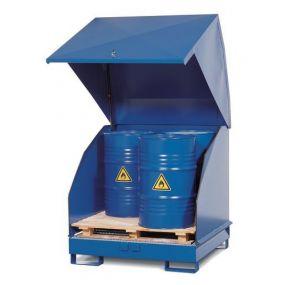 Opslagdepot van gelakt staal met stalen kap voor 4 vaten à 200 liter