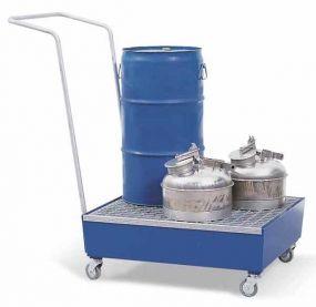 Verrijdbare gelakte opvangbak met rooster voor 2 vaten à 60 ltr of 1 vat à 60 ltr + klein emballage
