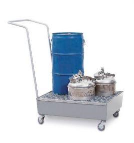 Verrijdbare verzinkte lekbak met rooster voor 2 vaten à 60 ltr of 1 vat à 60 ltr + klein emballage