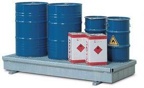 Verzinkte stalen Opvangbak / werkvloer met rooster van verzinkt staal, 208 x 91 x 25,5cm