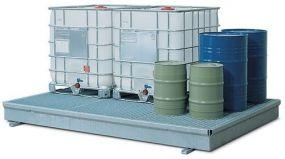 Verzinkte stalen Opvangbak / werkvloer met rooster van verzinkt staal, 291 x 227 x 25,5cm