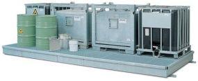 Verzinkte stalen Opvangbak / werkvloer met rooster van verzinkt staal, 509 x 208 x 25,5cm
