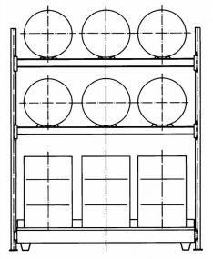 Vatenstelling voor 6 liggende en 6 staande vaten à 200 liter met lekbak