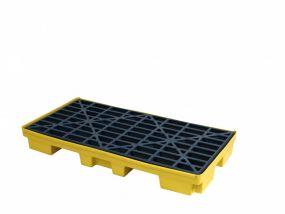 SC-SD2 Kunststof LDPE opvangbak werkvloer met rooster en heftrucksleuven, 132 x 66 x 15cm