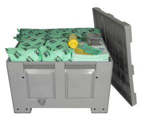Chemicalien spill kit 600 ltr opgeborgen in degelijke grijze kunststof box