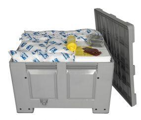 Olie spill kit 600 ltr reliable opgeborgen in grijze kunststof box