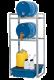 Aftapstation staal voor 2 vaten à 60 liter met PE lekbak inclusief rooster