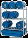 Aftapstation van verzinkt staal voor 9 vaten à 60 liter met PE lekbak zonder rooster